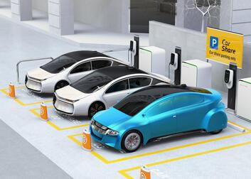Centre de mobilité automobile dans un parking
